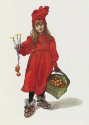 Brita as Iduna with apples, painting by Carl Larsson