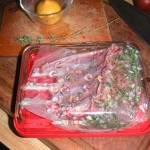 Marinating Half-Rack of Lamb