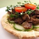 Pita with lamb, etc.