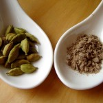 Cardamom: seed pods, and ground seeds