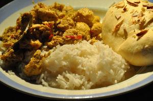 Chicken Vindaloo with Basmati Rice & Naan (flatbread)
