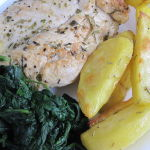 Chicken with Cream Sauce, Potatoes and Spinach